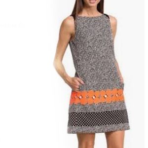 Desigual Optical Black White Orange Shift Dress-38